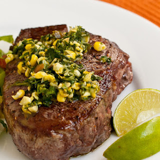 Steaks with Cilantro-Corn Gremolata.