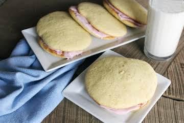 Vanilla Whoopie Pies with Raspberry Cream Filling