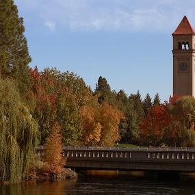 Riverfront Park by Jim Lancaster - City,  Street & Park  City Parks ( park, clock, folliage, riverfront, clocktower, bridge, fallcolors, river )
