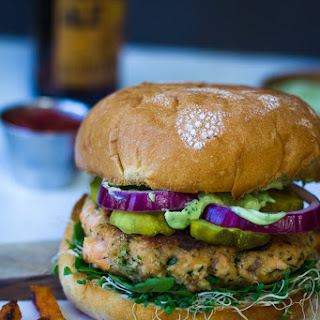 Cilantro Lime Salmon Burgers w/ Tequila Avocado Sauce