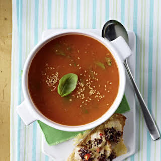 Tomato Ginger Soup With Chicken Toasts.