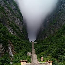Stairway to Heaven by Jordan Wangsgard - Landscapes Travel ( clouds, stairs, stairway, zhangjiajie, heaven, stairway to heaven, travel, cave, china,  )