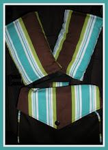 """Photo: """"Rufus"""" custom set of striped drool pads & Mai Poketto"""