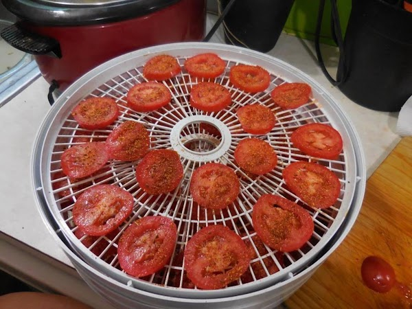 Slice tomatoes into rounds, sprinkle with your favorite spice or seasoning.  Place on...