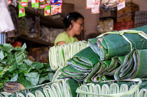 Indonesia. Bali Cooking Class. Banana leaves at the market