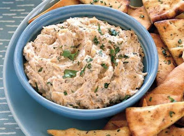 Caramelized-onion Dip With Cilantro-garlic Pita Crisps Recipe