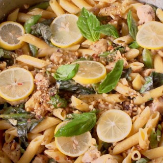 One-Pan Lemon Garlic Chicken Pasta.