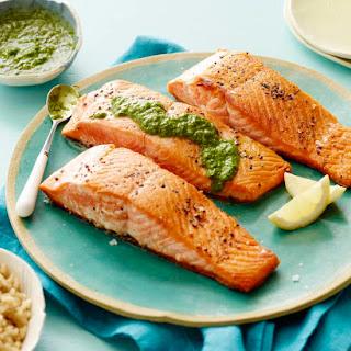 Pan Seared Salmon with an Herb Pesto Vinaigrette Recipe