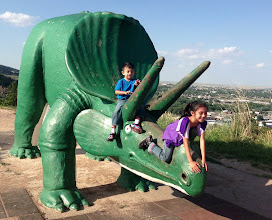Photo: High atop a mountain in Rapid City, we were studying dinosaurs. Paleontologically correct for 1936... at least they didn't have feathers. — at Dinosaur Park.
