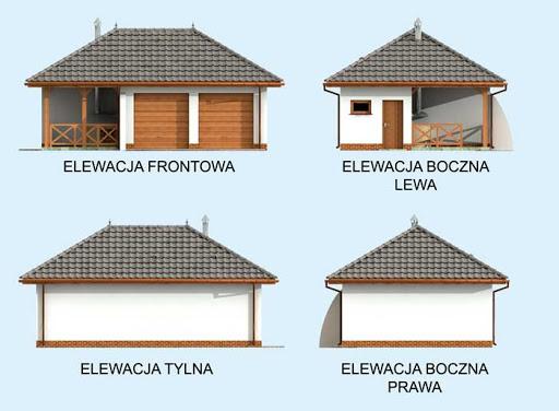 G255 garaż dwustanowiskowy z pomieszczeniem gospodarczym i altaną szkielet drewniany - Elewacje