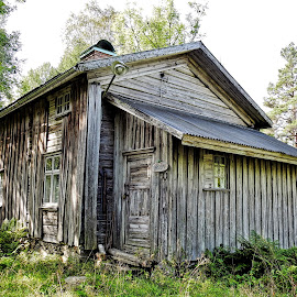 Little house in woods by Hiking Viking - Buildings & Architecture Decaying & Abandoned ( sweden, building, wooden, buildings, treehouse, grey, architecture, woods, decay, abandoned )