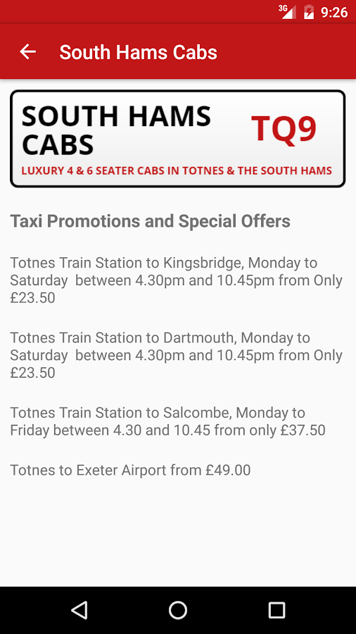 South Hams Cabs- screenshot