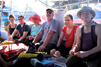 Photo: three of the five couples in our group on the speedboat ferry