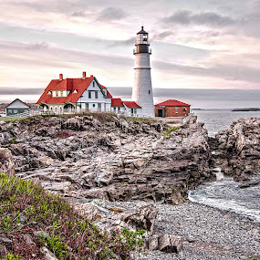The Beauty of Maine by Richard Michael Lingo - Buildings & Architecture Public & Historical ( maine, coastline, lighthouse, rocks, buildings,  )