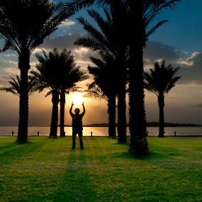 Touch The Sun by Jon Soriano - Landscapes Sunsets & Sunrises ( jon soriano, cloulds, sky, shadow, sunset, d90, jonr, jonrstudio, silhoutte, nikon, park hyatt, sun )