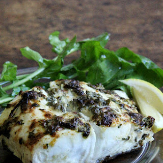 Pan-Broiled Halibut with Lemon, Parsley, & Capers.