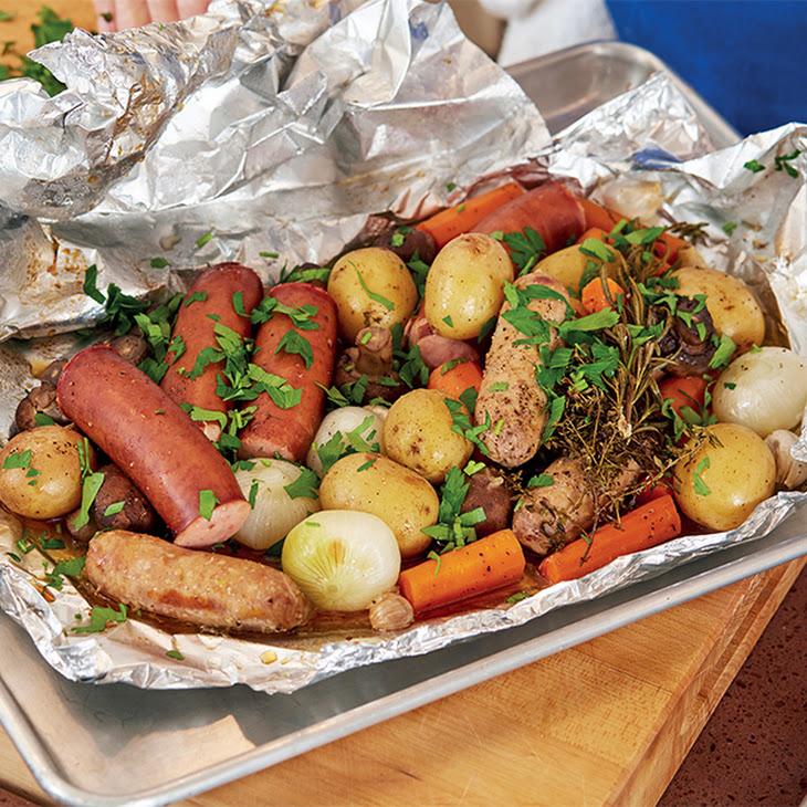 Jacques Pepin's Sausage, Potatoes, Onions, & Mushrooms en Papillote