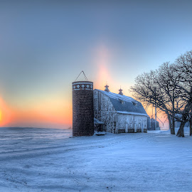 Sundogs by Chad Heggen - Buildings & Architecture Other Exteriors ( snow, snow snowy winter, snow snowy winter cold, winter, snow snowy, snow snowy winter cold barn, burr )
