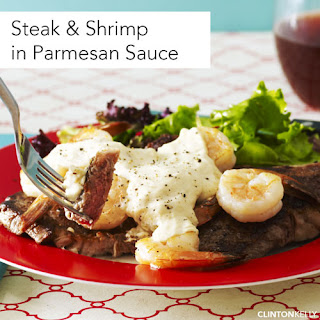 Steak & Shrimp with Parmesan Sauce