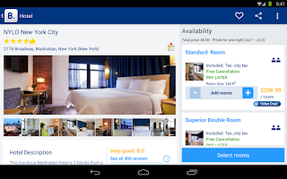 Screenshot of Booking.com Hotel Reservations