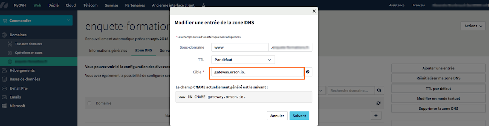 Redirection nom de domaine OVH validation