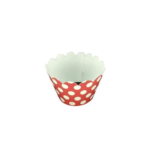 Cup Cake Altolitho Rojo Estampados Circulos/Rayas 25Und