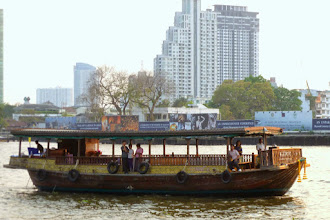 Photo: We flew back to Thailand.  Our last event was a sunset dinner on an old rice barge in Bangkok.