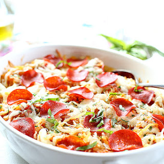 4-Ingredient Baked Spaghetti Squash Pepperoni Pizza Casserole.