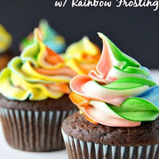 Chocolate Caramel Cupcakes w/ Rainbow Frosting