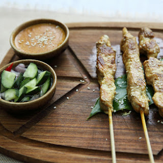 Grilled Thai Curry Chicken Skewers With Coconut Peanut Sauce