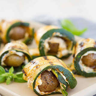 Grilled Zucchini Potato Rolls with Goat Cheese.