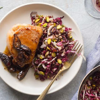 Pork Chops With Fig Sauce And Quinoa–dried Cherry Salad.