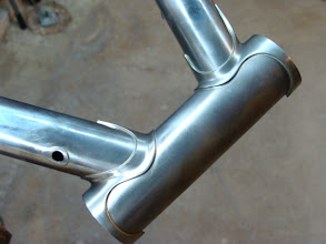 "Photo: My ""Modern"" style head lugs and a stainless Di2 wiring port on the down tube."