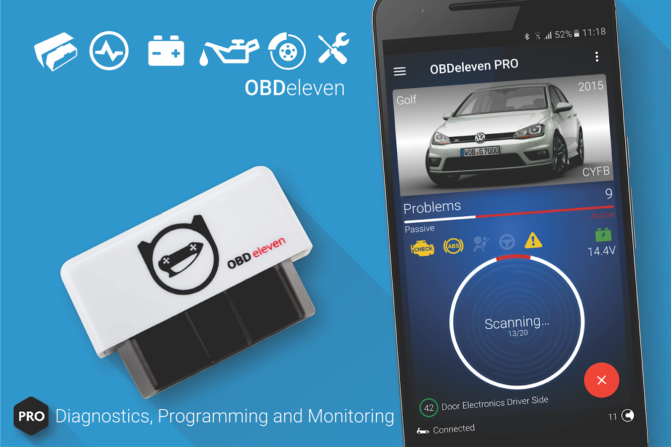 obdeleven pro car diagnostics app vag obd2 scanner