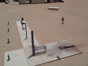 Photo: View from above of the horizontal static motor test stand.