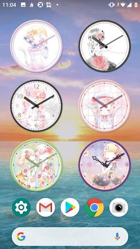 analog clock widget flowery kiss screenshot 3