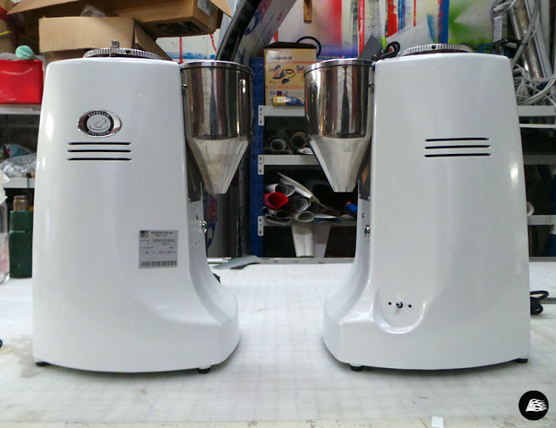 Photo: Wrapping coffee grinders for new cafe Slater St. Bench from silver to white #coffeegrinder #wrap #slaterstbench