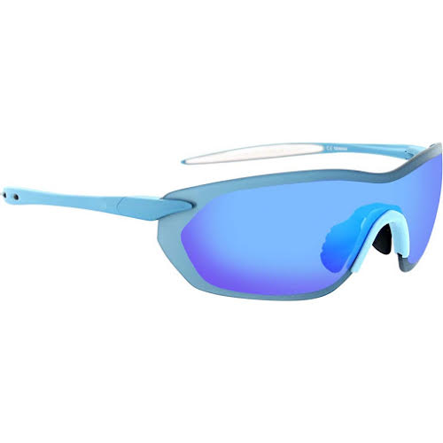 Optic Nerve Fixie Dash Sunglasses: Matte Blue/White Tips, with Brown/Light Blue Flash Lens