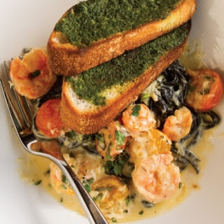 Black Linguine with Gulf Shrimp, Crab, and Cherry Tomatoes.