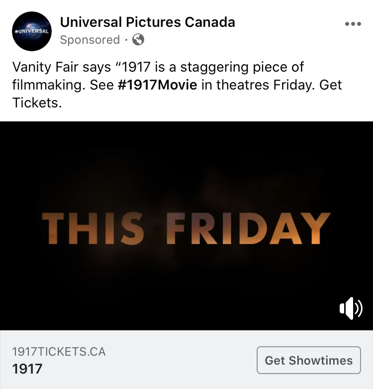 "A screenshot of a Facebook Video ad for the film ""1917"" with a call to action to get showtimes"