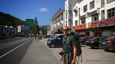 Photo: After a 2 hour bus ride from Tunxi to Huang Shan, we are ready to start our hike-- but first we have to get on another bus to the East Gate