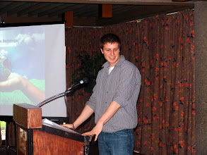 Photo: David Mills spoke about Joel Primeau's tech session.  The subject this month was Chilled Water Systems