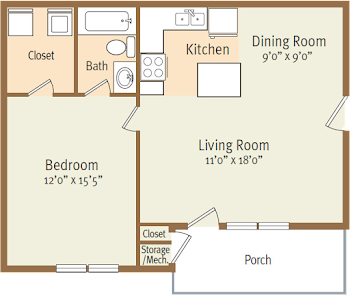 Go to One Bed, One Bath A Floorplan page.