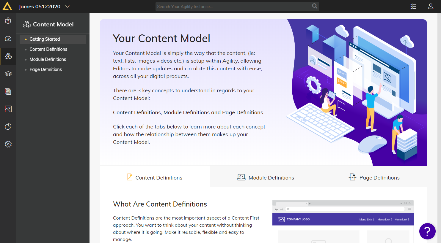 Content model system in Agility