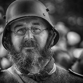 by Marco Bertamé - Black & White Portraits & People ( glasses, beard, soldier, headshot, helmet, bearded, military, man, portrait )