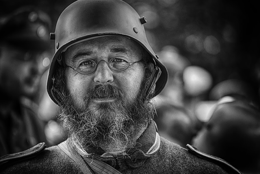 by Marco Bertamé - Black & White Portraits & People ( glasses, beard, soldier, headshot, helmet, bearded, military, man, portrait )