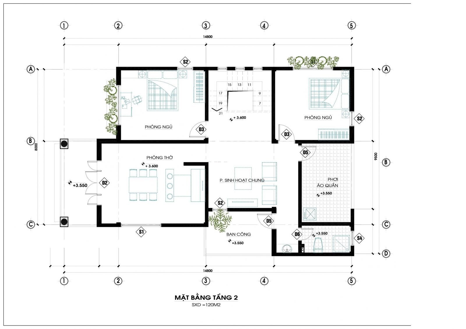 Mặt bằng tầng 2 mẫu nhà 2 tầng mái thái