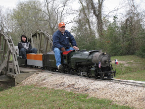 Photo: Rick Pike with his 2-8-2 that ran well until a lubricator part broke.  HALS 2009-0228