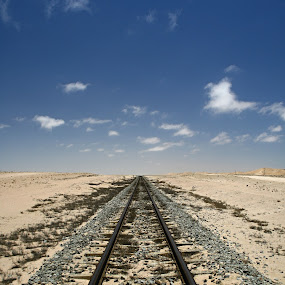 Railway Line behind the dunes between Swakopmund and Walvis Bay, Namibia by Jo-Ann de Smit - Landscapes Deserts ( namib, desert, tracks )