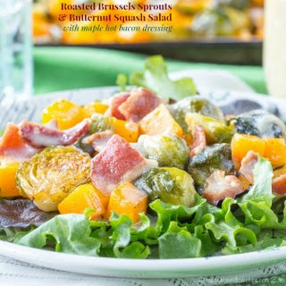 Roasted Brussels Sprouts and Butternut Squash Salad with Maple Hot Bacon Dressing